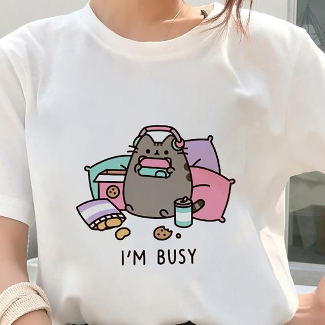 Kawaii Fat cat t shirt women 2019 New summer cute fashion Short Sleeve t-shirt White Thin section Hipster Tshirt Tops clothing