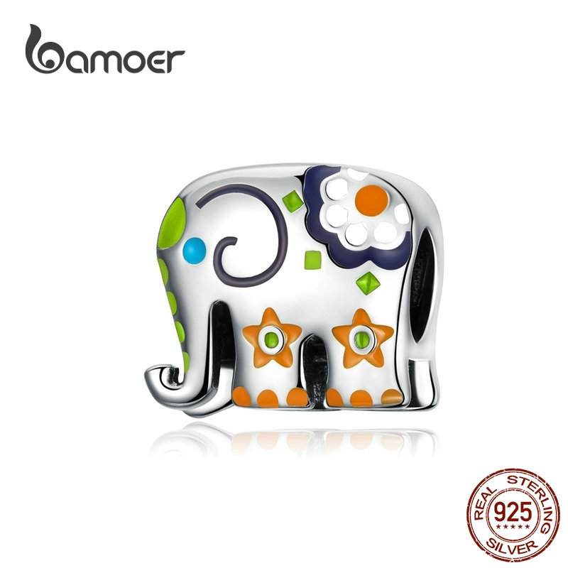 Bamoer Thailand Elephant Silver 925 Jewelry Charm For Women Colorful Enamel Animal Guardian Beads Fit Charms Bracelets BSC095