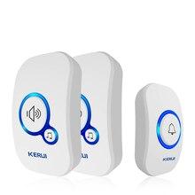 KERUI sonnette intelligente sans fil, alarme de sécurité pour la maison, avec lumière LED chansons et 32 chansons, avec bouton étanche, Installation facile