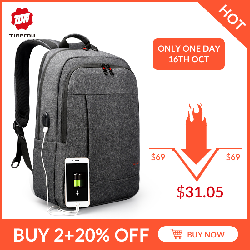 tigernu t b3142 - Tigernu Anti thief USB bagpack 15.6 to 17inch laptop backpack for Women Men school Bag Female Male Travel Mochila