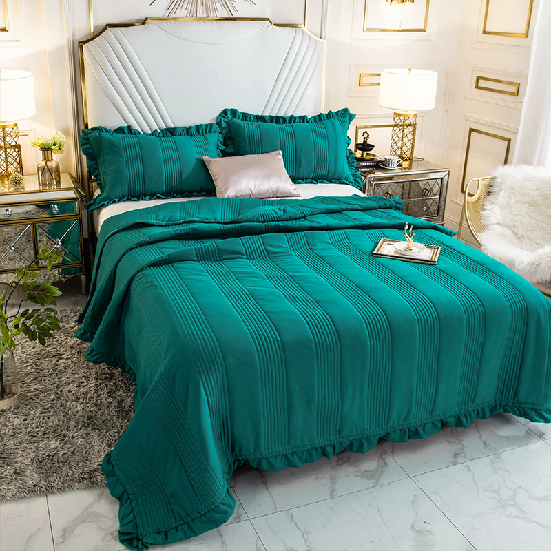 Green Blue Soft 100 Washed Cotton Ruffle Bedspread Coverlet Bed Cover Set Blanket Summer Quilt Bed