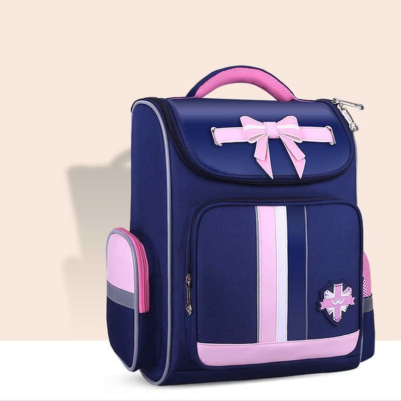 Öğrenciler için güzel yay-düğüm tasarım sırt çantası naylon kız erkek çocuk okul su geçirmez sırt çantası genç renkli Booksack Mochila