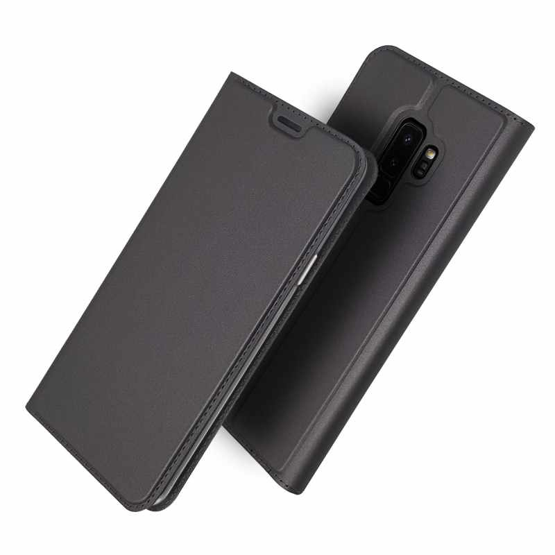 محفظة حقيبة لهاتف سامسونج غالاكسي S9 فليب غطاء الهاتف جلدية أنيقة حافظة للبطاقات لسامسونج غالاكسي S9 plus حالة