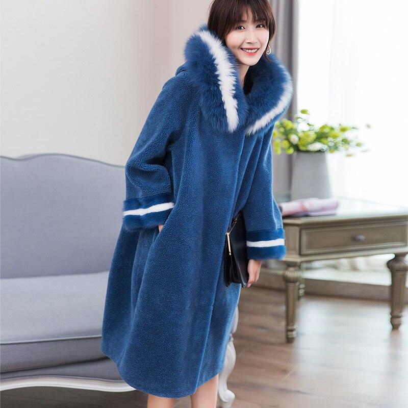 Jaqueta de Inverno Gola de Pele de Raposa Outerwear para Mulheres Real Cabolsa Feminino Natural Ovelha Shearling 18052 Wyq1874 lã 2020