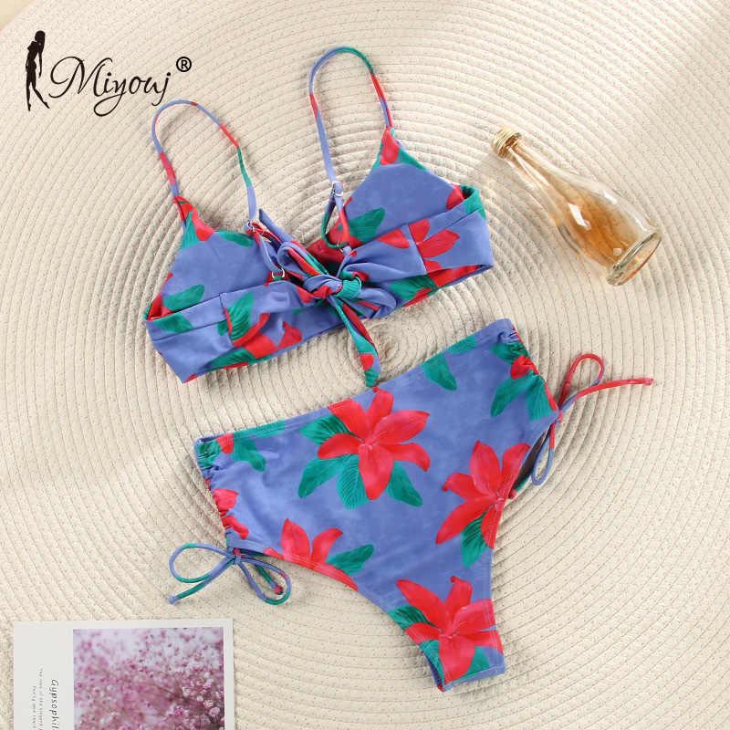 Miyouj 2020 taille haute Bikinis femme String Biquini mode maillot de bain femmes plage nager maillots de bain Bandeau Push Up Bikini ensemble