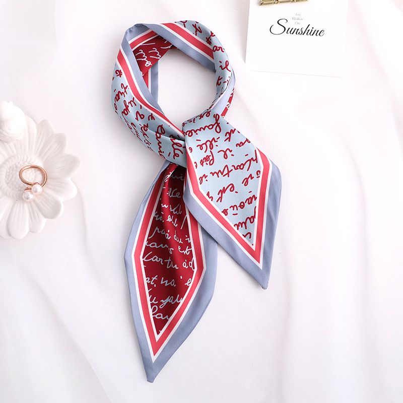 2020 New Letter Print Women Silk Scarf Small Handle Bag Ribbons Female Head Scarves Foulard 90*10cm