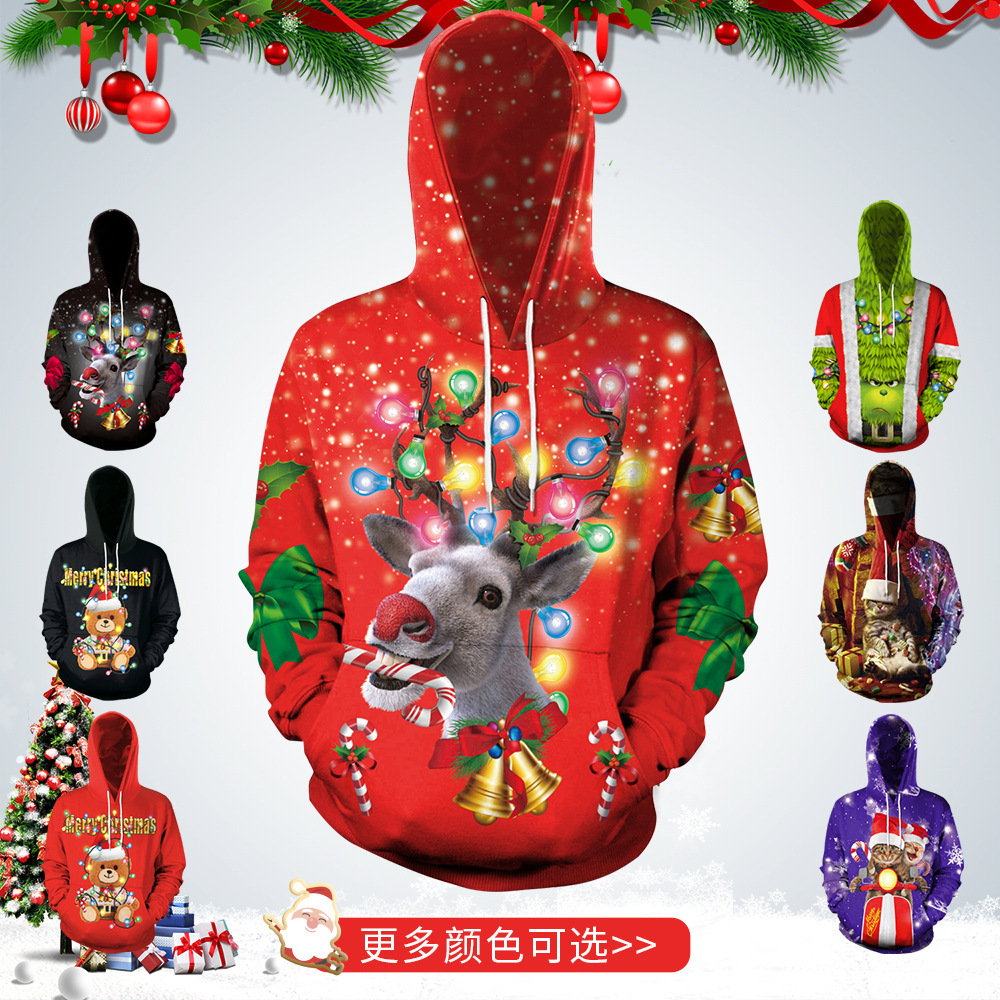 Christmas Day 3D Hoodies Men/Women Fashion Calssical Streetwear Hooded Merry Christmas Pullover Hoodie Casual Wear Loose