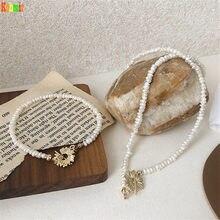 Kshmir-collar de cadena de cuello para mujer, collar elegante femenino, doble francés, plegable, Margarita pequeña, barroco, Retro, Perla