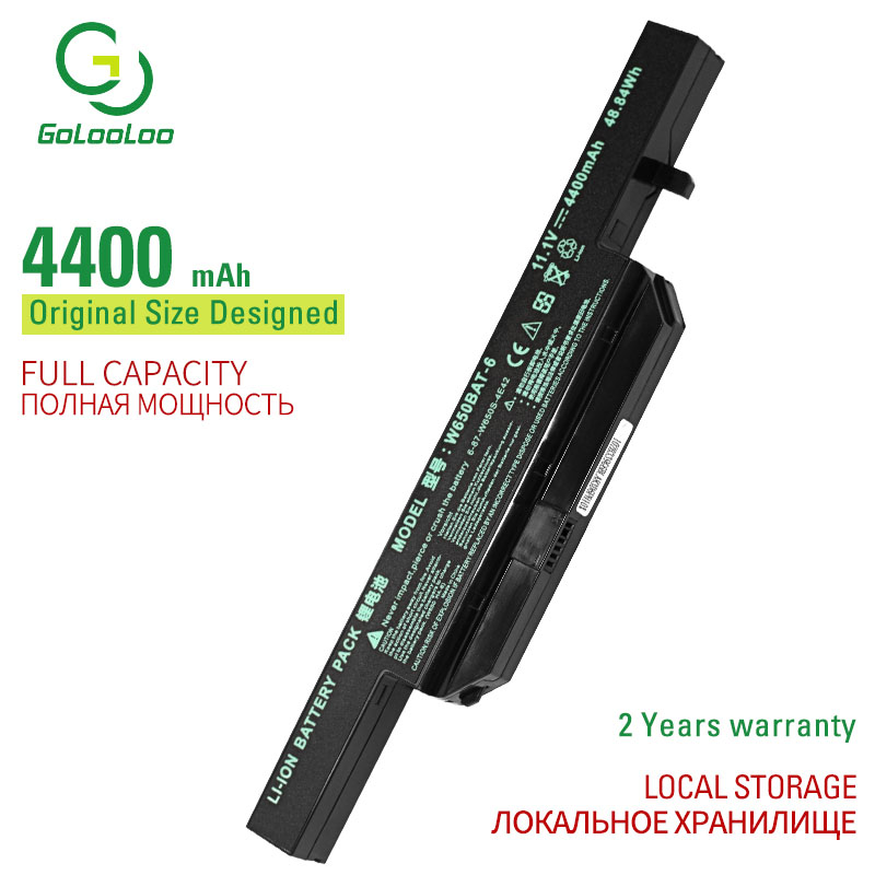 Golooloo 11.1v 6 Cells Laptop Battery For Clevo W650BAT-6 6-87-W650-4E42 K590C-I3 K610C-I5 K570N-I3 K710C-I7 G150SG G150S G150SA