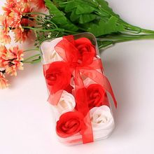 2020 Valentine\'s Day Soap Flower Scented Rose Flower Petal Ribbon Gift Box Bath Body Soap Gift Wedding Party Favor 6 12 18pcs set scented rose flower petal bath body soap wedding party gift home party hotel wedding decoration