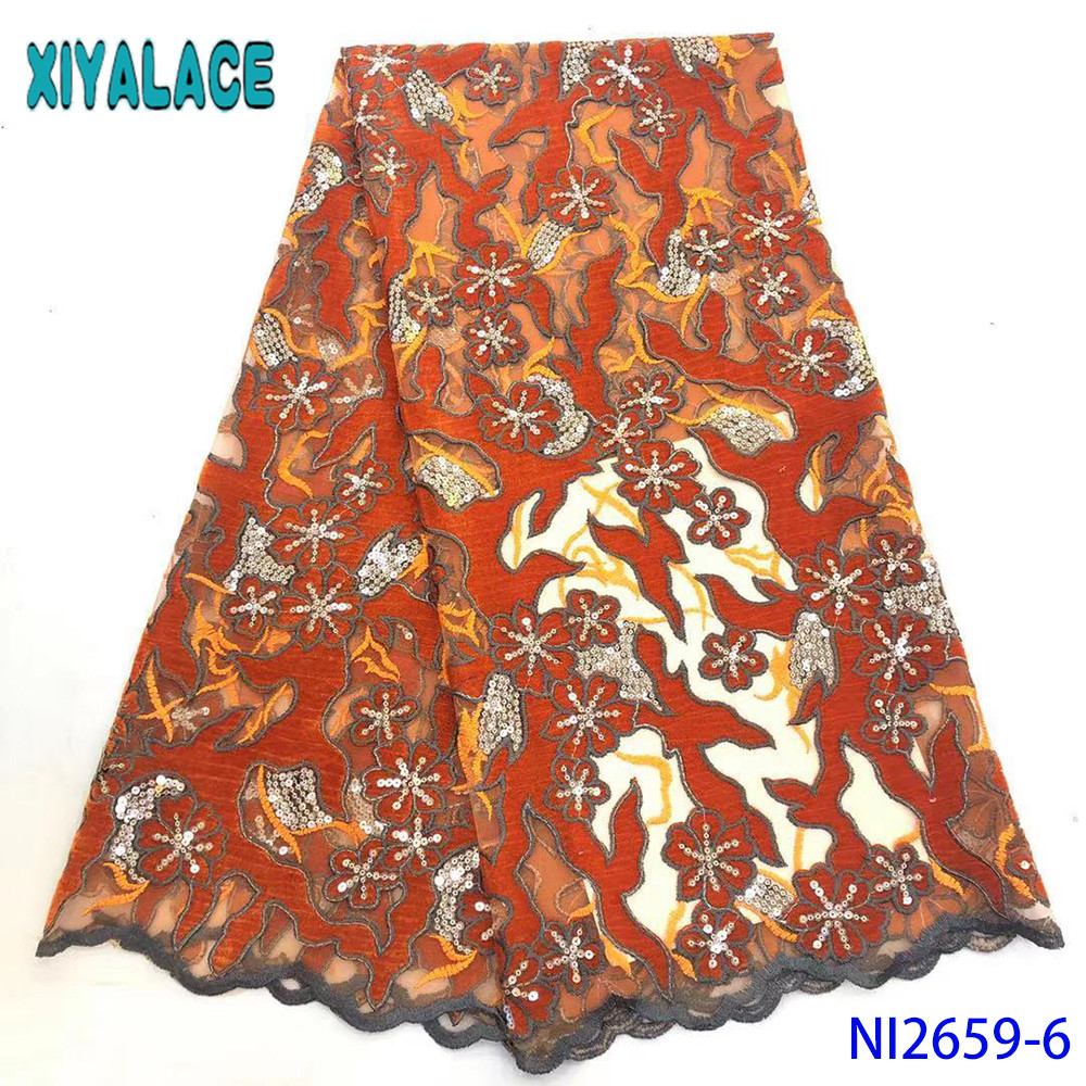 African Velvet Lace Fabric 2019 High Quality Burnt Orange Lace Fabrics With Sequins French Mesh Lace For Party KSNI2659