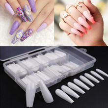 100pcs/box Fake Nail Artificial Long Ballerina Clear/Natural/white False Coffin Nails Art Tips Full Cover Manicure + Jewelry Box(China)