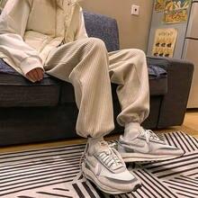 Privathinker-Pantalones rectos de pana para hombre y mujer, ropa de calle coreana cálida, de gran tamaño, Color sólido