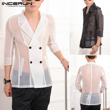 INCERUN Men's Fashion Mesh See Through Party Shirt Men Breathable Long Sleeve Tops Male Casual Sexy Loose Lapel Top Blouse S-5XL fashion women s ladies long sleeve off shoulder shirt ruffle loose casual blouse summer tops