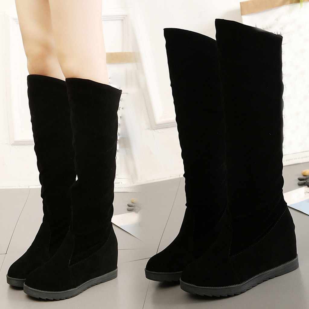 Fashion Winter Boots Women Knee High Long Boots New 2020 Flock Wedges Woman Boots Winter Warm Large Size Snow Boots Chaussures