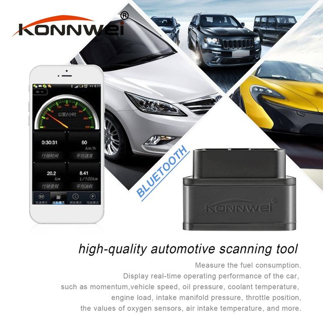New Konnwei KW903 ELM327 Bluetooth ODB2 Car Diagnostic Scanner Detector Tool Code Reader for Android for OBDII Auto Scanner