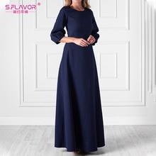 S.FLAVOR elegancki jednolity kolor, długi strój 2020 lato w stylu Vintage O Neck swobodne sukienki modny lampion kołnierz Party Vestidos
