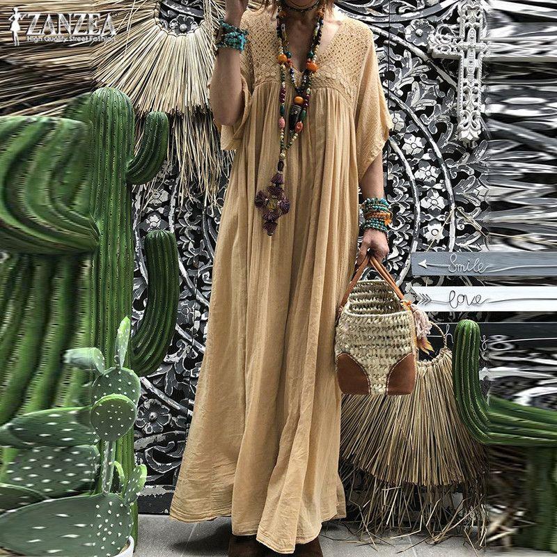ZANZEA 2019 bohème dentelle Crochet Robe Maxi femmes d'été Robe d'été plissée demi Flare manches Vestidos grande taille col en V Robe