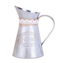 Flower Vase Iron Metal Bucket Rustic Style Jug Watering Can P Ot Flower Vase For Wedding Home Vintage Decoration