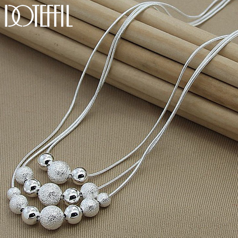 DOTEFFIL 925 Sterling Silver Smooth Matte Beads Necklace Snake Chain For Women Fashion Accessories Wedding Engagement Jewelry