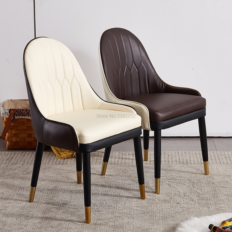 Nordic Solid Wood Light Luxury Dining Chair Living Room Home Bench Studio Backrest Casual Chair Cafe Talks Leather Chair