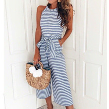 Wish summer ladies striped jumpsuit bow tie strap sleeveless casual bohemian jumpsuit wide leg pants 2020 tie side striped cami top with wide leg pants