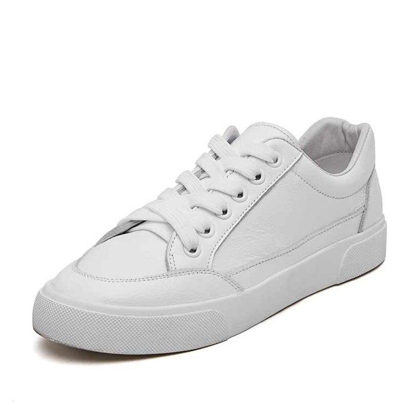 Zapatillas deportivas moda casual mujer zapatos de cuero otoño cómodo encaje blanco mujer tenis zapatos tamaño 35  40-in Zapatos planos de mujer from zapatos on AliExpress - 11.11_Double 11_Singles' Day 1