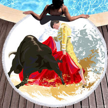 3D New Spain Bullfight Dance Print Round Beach Towel Fashion Micro Fiber Adult Swimming Mats Surfing Quick Dry Absorbent Cape