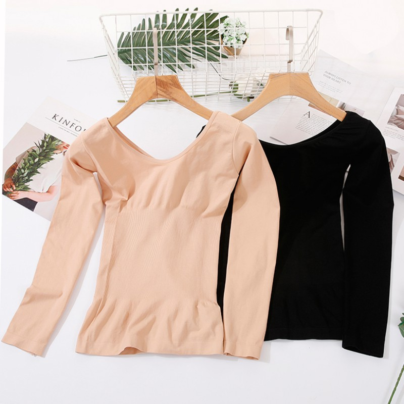 Autumn Winter Base Warm Bottoming T-shirt Thin Section Solid Color Floral V-neck Seamless Body Long-sleeved Thermal Underwear