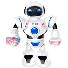 LED Flashing For Child Battery Operated Electronic New Year Dancing Robot Light
