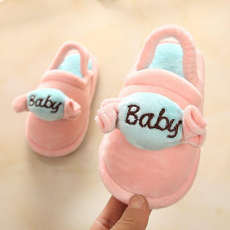 Новинка 2019 года; зимние тапочки для маленьких мальчиков и девочек; мягкие тапочки для детей; Милая Нескользящая домашняя детская обувь с