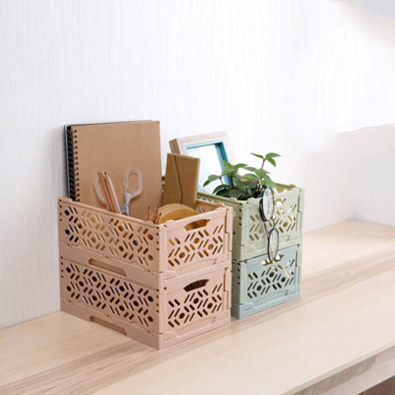 Plastic Desktop Storage Basket Sundries Storage Box Foldable Stackable Desktop Makeup Organizer Bathroom Bedroom Storage Case