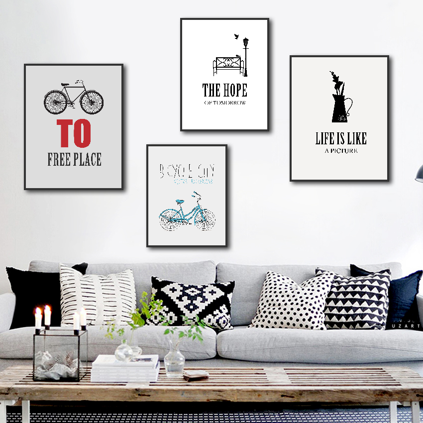 Bicycle Wheel Canvas Painting Modern Life Motto Poster And Print Wall Picture For Living Room Abstract Wall Art Decor