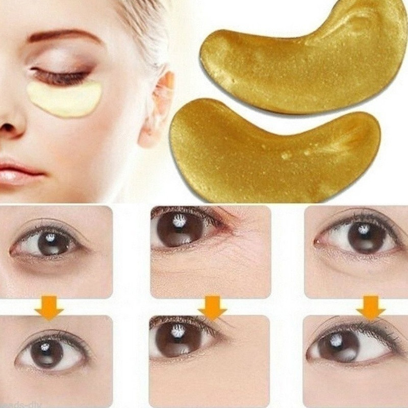 2 Pcs 1 Pair 24K Gold Crystal Collagen Eye Mask Eye Patches for Eye Care Dark