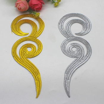 Iron On Appliques 5 Pairs Gold Embroidered Budges Appliqued Gold Metallic Patches 3D Floral Cosplay 17.5cm image