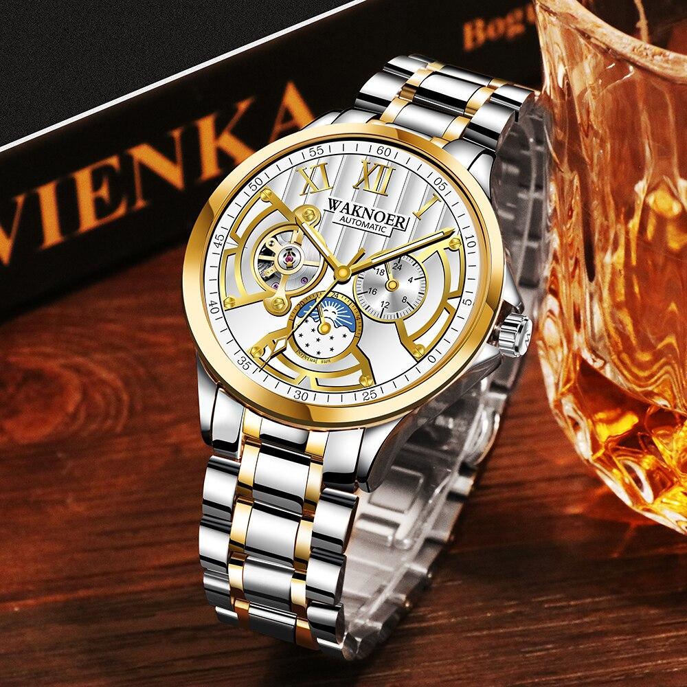 WAKNOER Mes's Automatic Mechanical Watch Sun Moon Watches Men Full Steel Business Waterproof Clock Men Relogio Masculino Saat Mechanical Watches     - title=