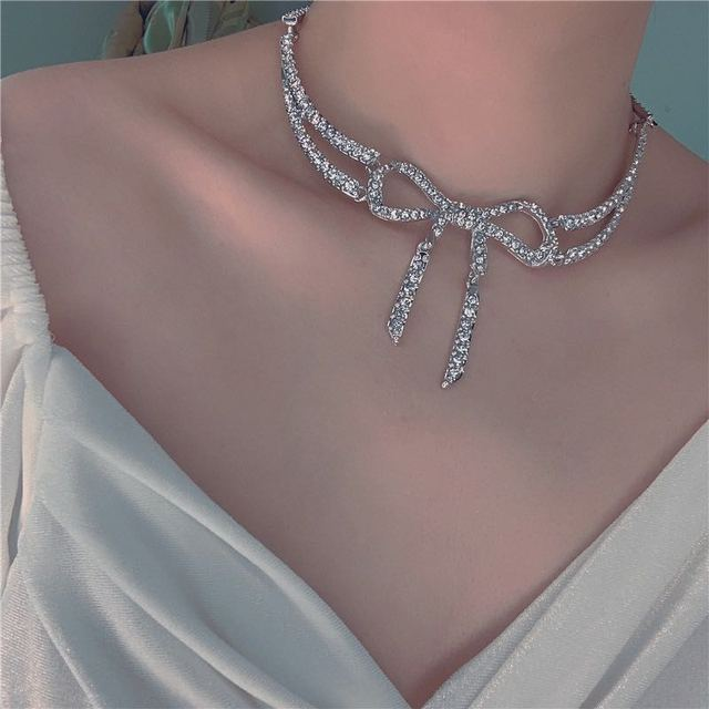 Модное винтажное ювелирное ожерелье длинное с бантом стиль для