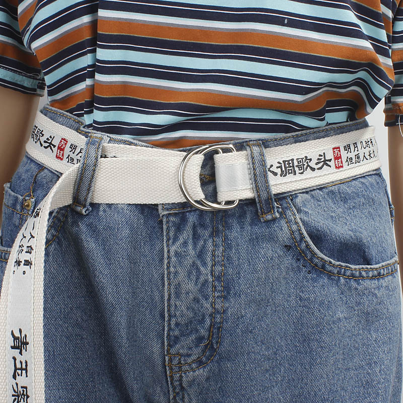 Fashion Canvas Belt For Men Women Jeans Harajuku Chinese Characters Personality Double Ring Buckle Belt White Waistband Z30