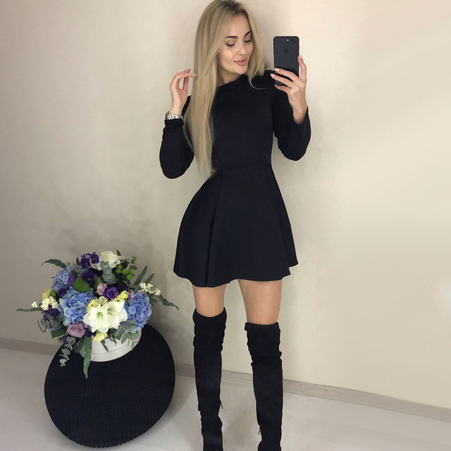 Autumn Long Sleeve Sexy a Line Party Dress Ladies Office Work Basic Shirt Dress 2019 Fashion Elegant Mini Dress Winter Vestidos 3