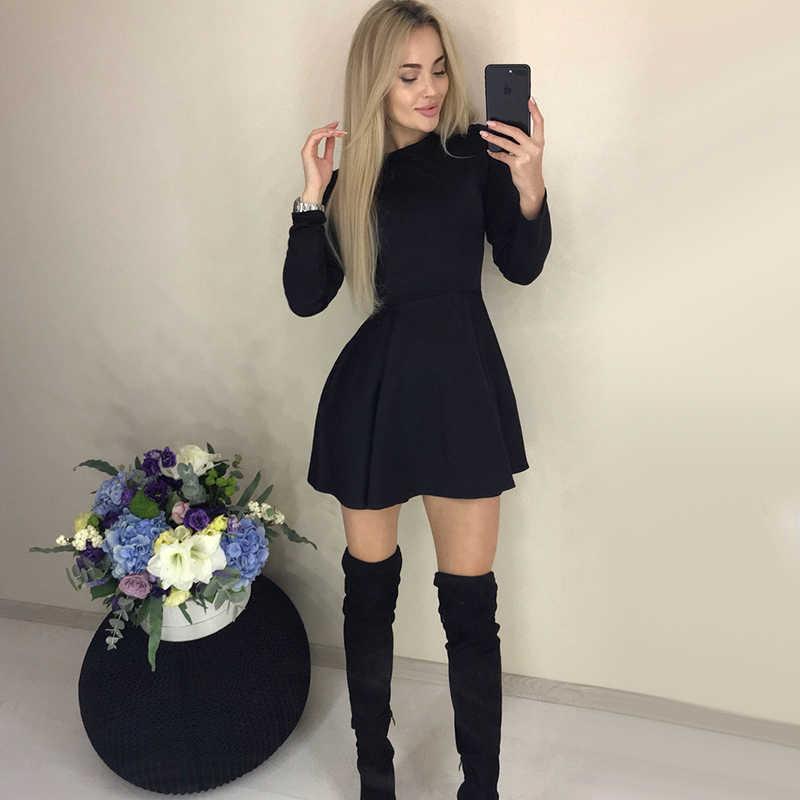 Mùa Thu Tay Dài Gợi Cảm Một Dòng Đầm Dự Tiệc Nữ Văn Phòng Làm Việc Cơ Bản Áo Đầm 2019 Thời Trang Thanh Lịch Mini Mùa Đông vestidos