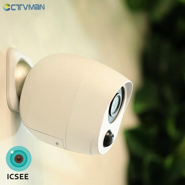 CTVMAN 1080P ICSEE Outdoor Battery Wifi Camera IP Battery Security Camera Wireless Battery Camera Surveillance 2MP Waterproof