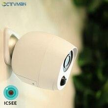 Ctvman 1080P Icsee Ngoài Trời Pin Camera Wifi Ip Pin Camera An Ninh Không Dây Pin Camera Giám Sát 2MP Chống Thấm Nước