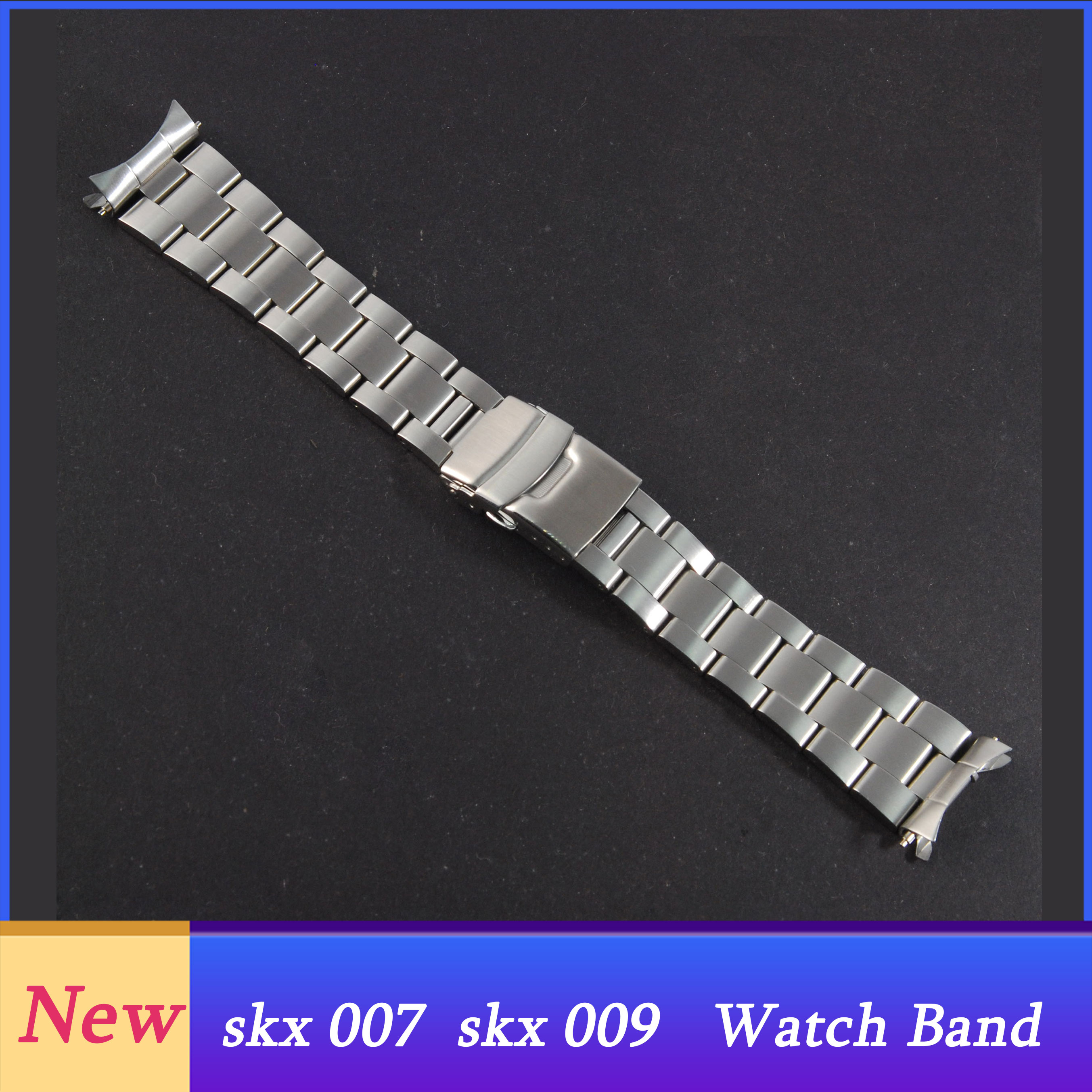 New Version  Stainless Steel Watch Band Bracelets Curved End Replacement For  SKX007 SKX009 SKX011