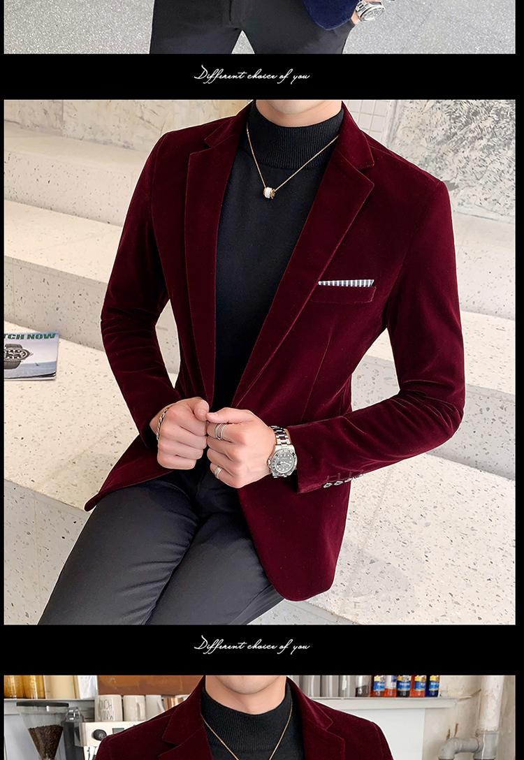 Heb1f4d0794f341279de7fb312351ff92A - Autum Velvet Wedding Dress Coat Mens Blazer Jacket Fashion Casual Suit JacketStage DJ Men's Business Blazers Veste Costume Homme