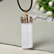 100% Natural Selenite plaster Pendant Rock Mineral Specimen Jewelry Reiki Healing Energy Stone Add Charm DIY gifts Souvenir 1PC