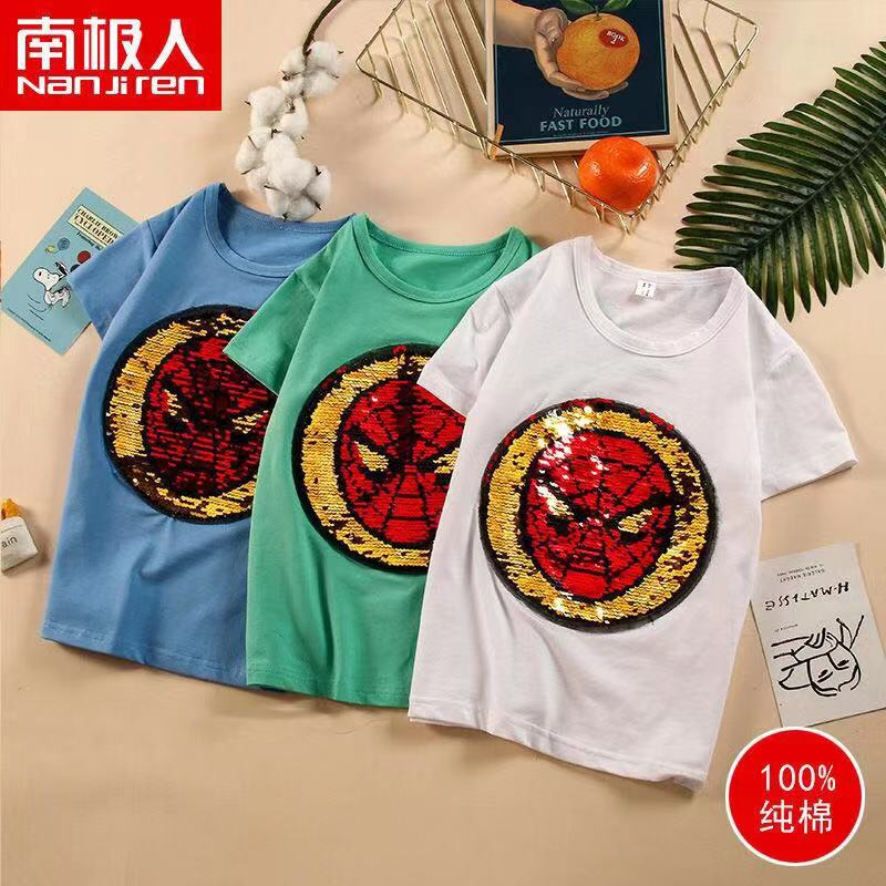 T-Shirts Over-Clothes Sequins Girls Boys Short-Sleeved Summer New Cotton Top Can-Be-Turned