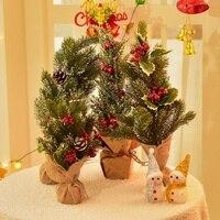 32,5 см мини-елка для рабочего стола, украшения для рождественской вечеринки, аксессуары с сосновым конусом, праздничные товары для рождестве...