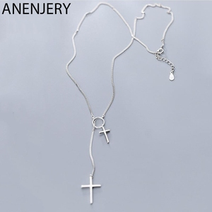 ANENJERY Fashion Double Cross Pendant Sweater Chain Necklace Silver Color Long Chain Necklace Jewelry For Women S-N552