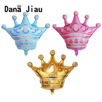 Wed decor big pink grown party foil Balloon 30 years old Happy Birthday decoration golden crowns baby shower wedding helium ball image