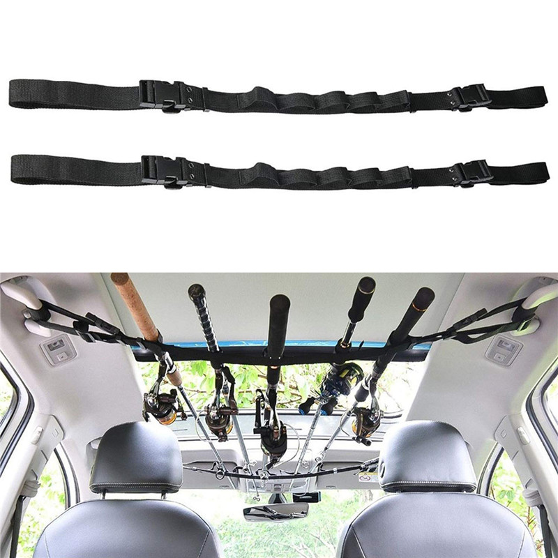 2PCS Car Fishing Rod Holder Durable Nylon Adjustable High Quality Bandage Carrier Strap For Vehicle Travel Fishing Tackle Tool